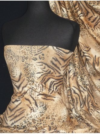 Crepe 4 Way Stretch Jersey Fabric- Animal Camel Q1228 BKCML