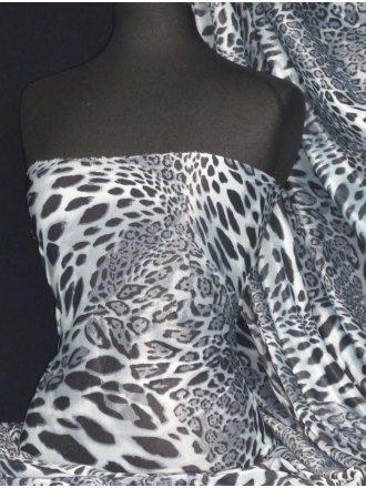 Leopard Sheer Silver Subtle Shimmer Fabric