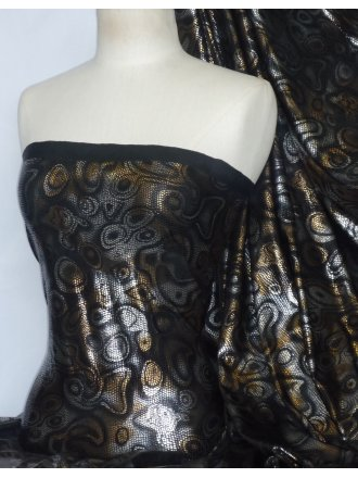 Foil Stretch Fabric- Abstract Gold/Silver Q1224 GLDSLV