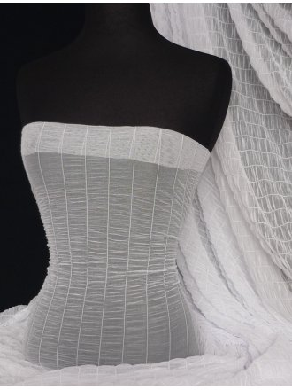 White Shirring Stretch Power Mesh Material
