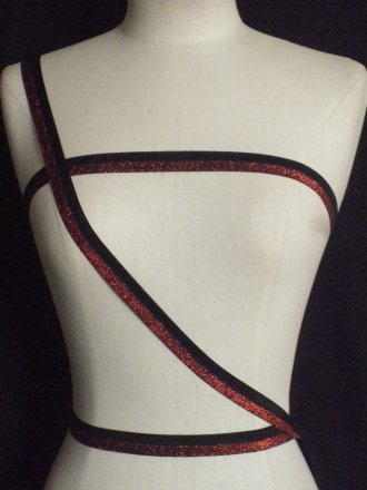 3 Metres Black/ Red Elastic Trimming