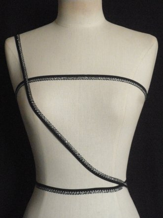 3 Metres Black/ Silver Scalloped Elastic Trimming