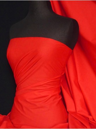 Poly Cotton Sheeting Fabric Material (150cm)- Bright Red Q1274 BTRD
