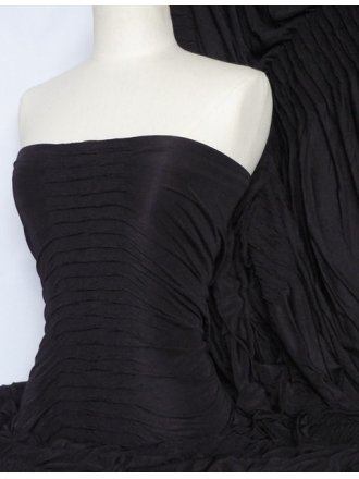 Ruched 4 Way Stretch Fabric- Black Q803 BK