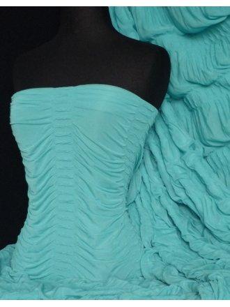 Ruched 4 Way Stretch Fabric- Aqua Q803 AQ