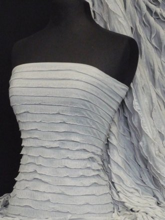 Frilly Ruffle 4 Way Stretch Fabric- Silver Grey Q848 SLVGR