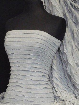 Frilly Ruffle Stretch Fabric- Silver Grey Q848 SLVGR