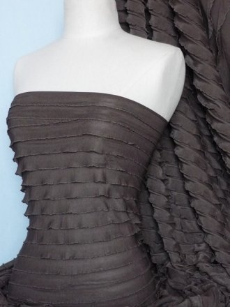 Frilly Ruffle 4 Way Stretch Fabric- Chocolate Q168 CHO