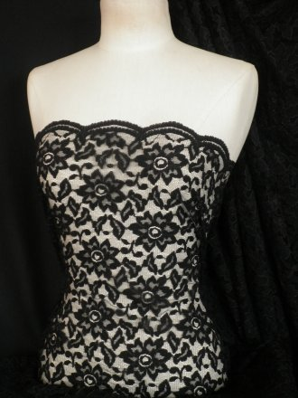 Black Floral Lace Fabric