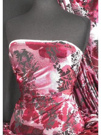 Velvet/Velour 4 Way Stretch Spandex Lycra- Berry Pink Flocking Q1280 BERPN