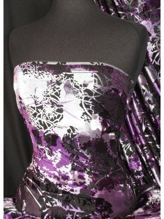 Velvet/Velour 4 Way Stretch Spandex Lycra- Midnight Purple Flocking Q1280 MDPPL