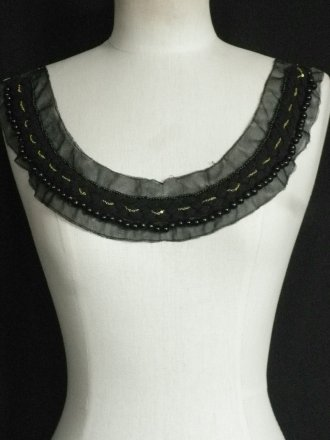 Black Braid Beaded Net Neck Piece