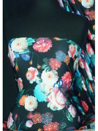 Scuba Stretch Poly Lycra Fabric- Multi Floral Q1286 MLT