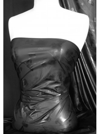 PVC Wetlook Super Soft Butterfly Print Fabric- Black Q1289 BK