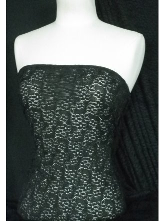 Lace Small Flower Design Stretch Fabric- Black SQ13 BK