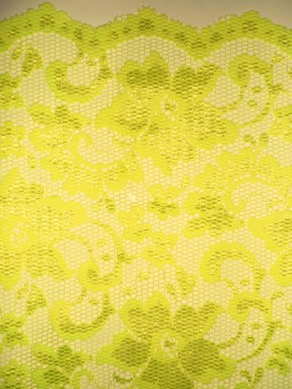 Lace Scalloped Floral Stretch Lycra Fabric- Flo Yellow Q615 FLYL