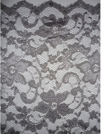 Lace Scalloped Floral Stretch Lycra Fabric- Grey Q615 GR