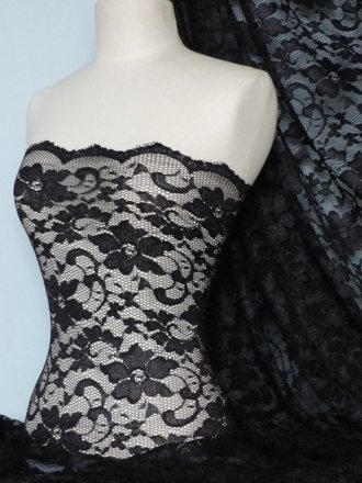 Lace Scalloped Floral Stretch Lycra Fabric- Black Q615 BK