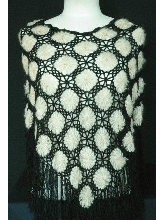 Clearance Black/Beige Acrylic Knit Poncho
