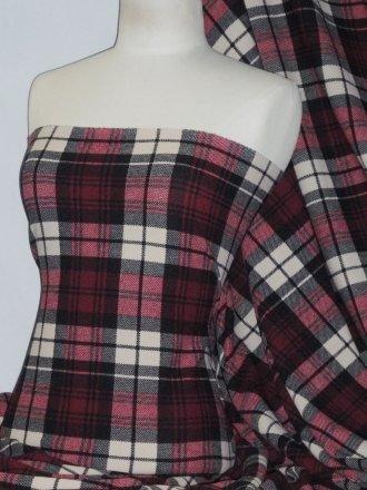 Liverpool Check Knitwear Fabric- Red/Black Tartan Q1309 RDBK