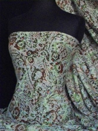 Poly Viscose Burn Out Light Weight Fabric- Green Multi Abstract Q1217 GRNMLT