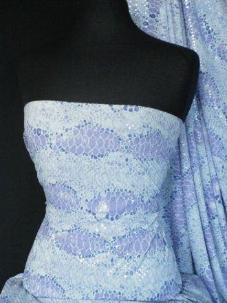 Embossed 4 Way Stretch Lycra Fabric- Lilac Snake Print SQ14 LLC