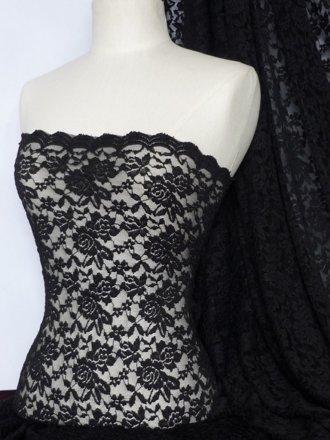 Lace Rose Design Scalloped 4 Way Stretch Fabric- Black Q723 BK
