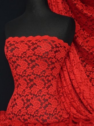 Lace Rose Design Scalloped 4 Way Stretch Fabric- Red Q723 RD