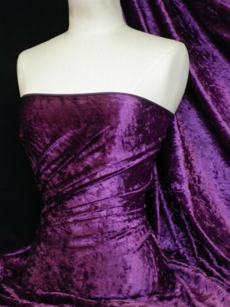 Crushed Velvet/Velour Stretch Material- Purple Q156 PPL