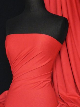 Ponte Double Knit 4 Way Stretch Jersey Fabric- Tomato Red Q37 TRD