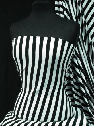 100% Cotton Interlock Knit Soft Jersey T-Shirt Fabric- Black/White Horizontal Stripe Q1338 BKWH