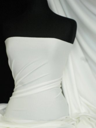 Marcy 4 Way Stretch Poly Lycra Fabric- Ivory Q1336 IV
