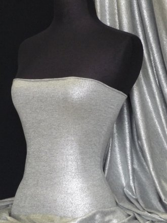 Viscose Cotton Stretch Fabric- Grey Silver Foil Q1348 GRSLV