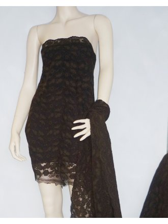 Corded Lace Scalloped 4 Way Stretch Lycra Fabric- Brown Q1349 BRN
