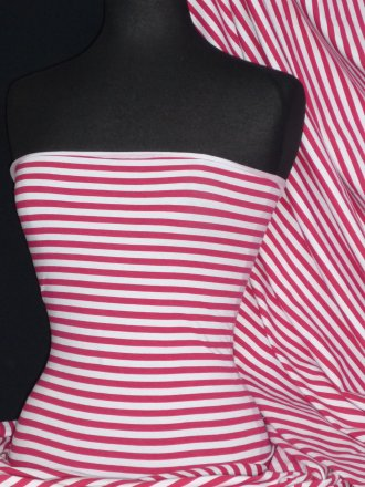 Cotton Lycra Jersey 4 Way Stretch Fabric - Cerise/White  Horizontal Stripe Q1355 CRSWHT