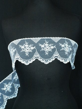White Floral Embroidered Scalloped Edged Wide Non-Stretch Net Trim