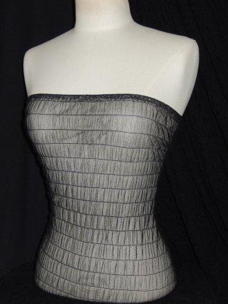 Black Shirring Stretch Power Mesh Material