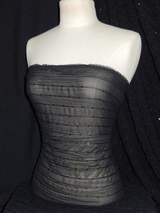 Crinkle Chiffon Sequin Sheer Fabric- Black SQ28 BK