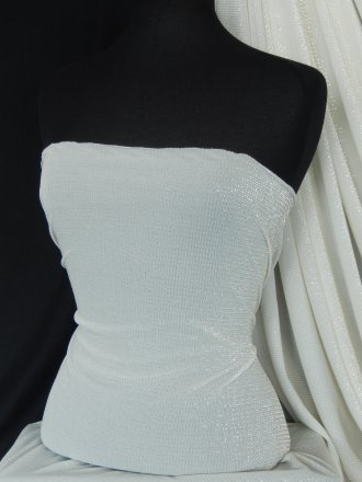 Polyester Light Weight Stretch Lurex Fabric- Ivory SQ29 IVCRM