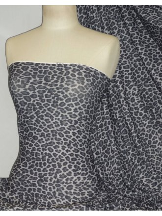 TXT Soft Touch 4 Way Stretch Lycra Fabric- Grey Leopard Q1375 GRY
