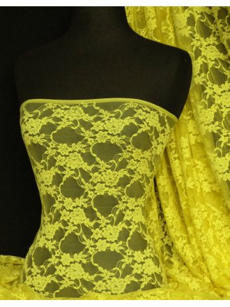 Yellow Flower Soft Stretch Lace With Lycra Fabric