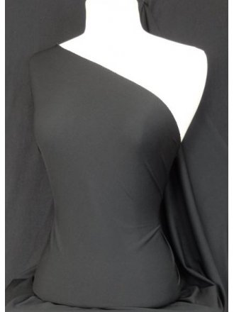Clearance Poly Rib 1 x 1 Stretch Jersey Fabric- Black CLRIB BK