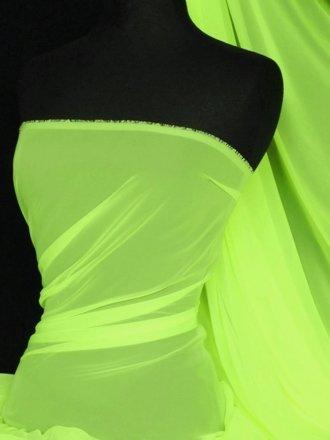 Chiffon Soft Touch Sheer Fabric Material- Neon Green Q354 NYL