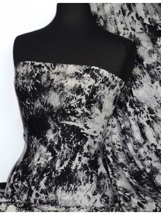Viscose Cotton Stretch Lycra Fabric- Arianna Black/Grey Splash VSC07 BKGR