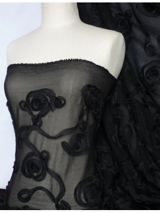 Swirl Applique Chiffon Fabric - Black Q721 BK