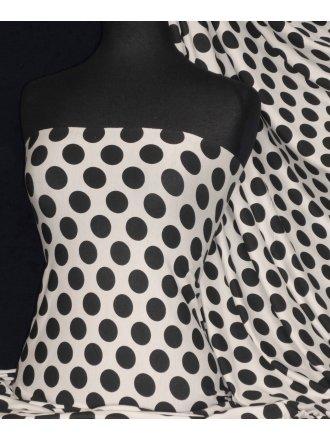 Viscose Cotton Stretch Polka Dots Lycra Fabric- Leah Ivory/ Black Q599 IVBK