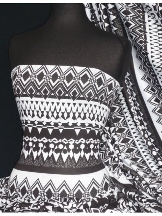 Poly Viscose Light Weight Sheer Fabric- Kim Black/White Geo VSCP20 BKWHT