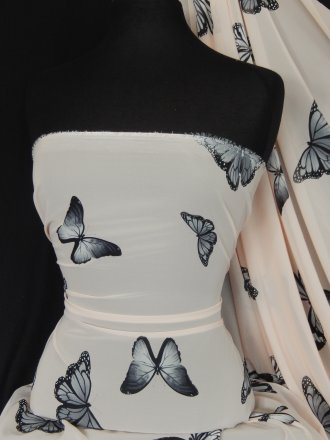 Chiffon Soft Touch Sheer Fabric - Nude/ Black Butterfly Q1366 NDBK