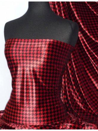 Velvet Spandex Fabric Luxuriously Soft Velvet Material- Red/Black Dogtooth PVEL25 RDBK