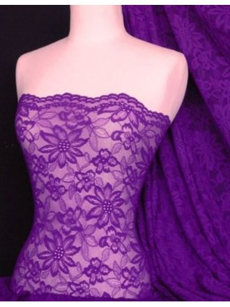 Lace Scalloped Flower 4 Way Stretch Fabric- Purple Q891 PPL